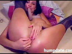 hawt hottie toying and fisting her butthole on