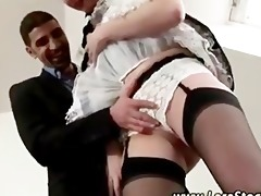 european older maid in stockings gives boy a