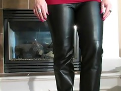 sexy honey bj in leather pants and heels