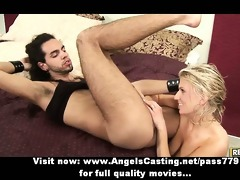breasty golden-haired does oral-service and
