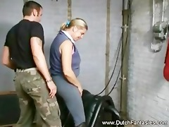 a cougar on a slutty horseback riding lesson