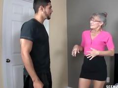 excited granny sucks a juvenile cock