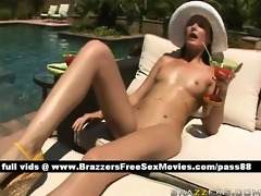 juvenile brunette hair hotty at the pool acquires
