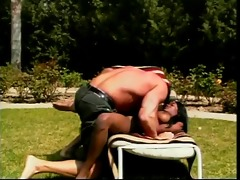 white man and dark honey do 62 on lawn chair then