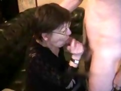 mature wife gets cum on face and chest