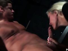 wild blonde bartender girl lengthy showing off