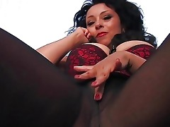 nasty darksome haired mother i in dark hose plays