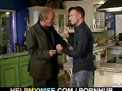 old hubby watches a lad bangs his juvenile wife