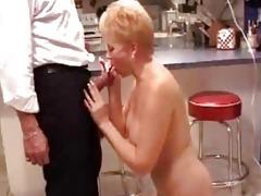 aged oral-stimulation in the kitchen