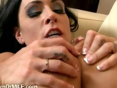 brunette hair milf so lewd she is plays with her