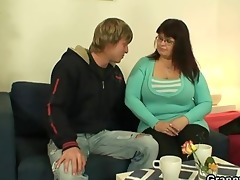 he is is drilling her obese old pussy