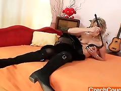 good-looking mastix wife performs strange