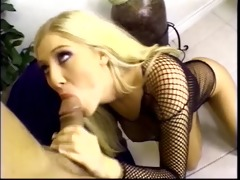 stunning youthful anal blond in fishnet dress
