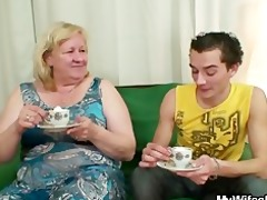 biggest granny is team-fucked by her son on law