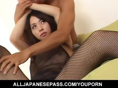 yuka osawa in fishnet body costume has her love