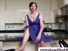 posh older lady puts on nylons