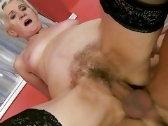 hawt granny receives her curly pussy drilled