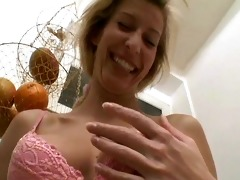 milfy german golden-haired shaves and plays -
