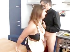 german woman acquires drilled in the kitchen