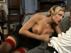 golden-haired with flawless bra buddies rides it