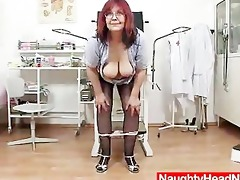 redhead biggest boobies cougar widens her haired