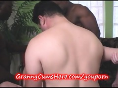 granny team-fucked and young gal sucks her clean