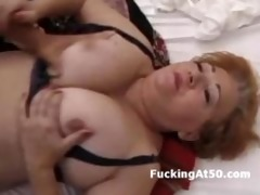 breasty redhead bulky grandma drilled by youthful