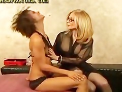 lesbo fucking with strap-on toy jock