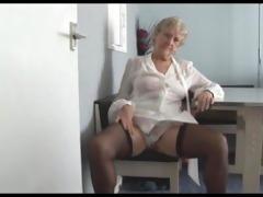 gracious granny in short petticoat strips