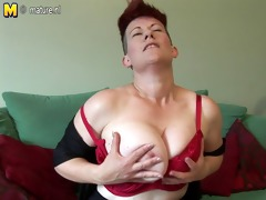unshaved breasty modern mama home alone