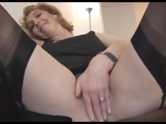 mature english golden-haired playgirl in nylons