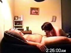 brunette hair wife sucks on hidden webcam