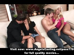 foursome swinger sex party with sexy wives doing