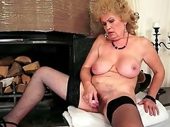 wicked breasty granny masturbating