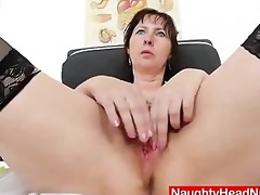 nurse gapes her unshaven aperture