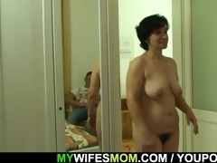 son-in-law drills her old unshaved cum-hole