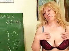 aged blonde teacher with biggest tits inserting