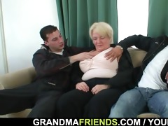 trio fuckfest with drunk granny