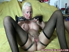 pierced granny with chains to her pierced wet