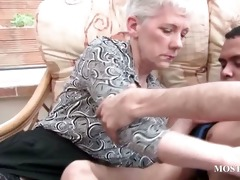 blond aged receives her tits teased