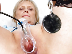 golden-haired granny nurse self exam with cunt