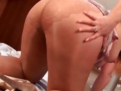 older lascivious blonde rubbing her moist twat on