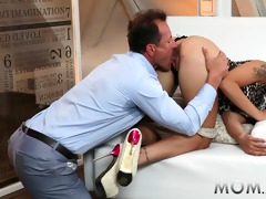 mama black haired sexually excited milf with