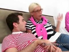 shy legal age teenager and milf team up on jock