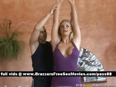 glamorous blond angel does yoga