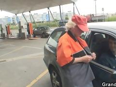 old slut swallows ramrods outdoors
