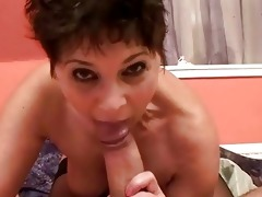 sexy granny engulfing and fucking knob from pov