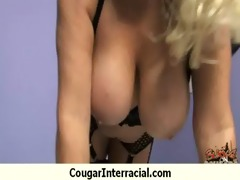 naughty interracial cougar acquires drilled