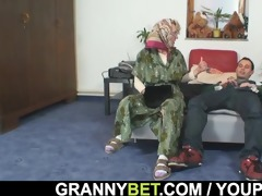 grandma pleases an youthful guy