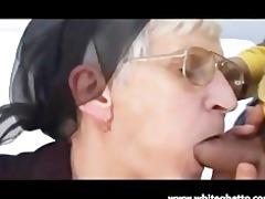 white haired granny takes latino shlong and facial
